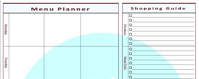 FREE Menu Plan & ShoppingGuide